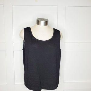 St. John Black Sleeveless Scoop Sweater Medium